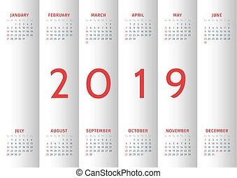 vecka, startar, söndag, 2019., kalender