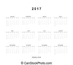 vecka, startar, söndag, english., 2017, kalender
