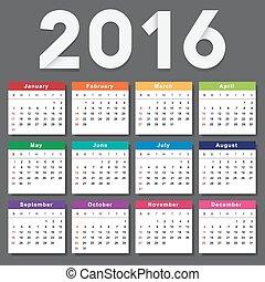vecka, startar, söndag, kalender, 2016.