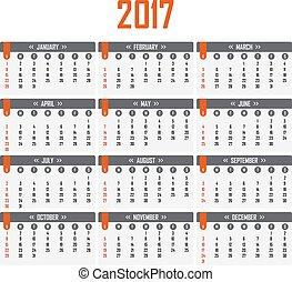 vecka, startar, söndag, kalender, 2017.