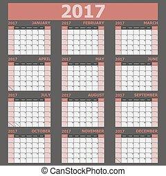 vecka, startar, tone), (red, söndag, kalender, 2017