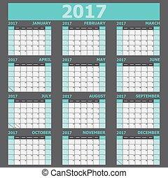 vecka, startar, tone), söndag, 2017, kalender, (green