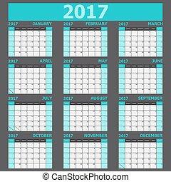 vecka, startar, tone), söndag, (light, grön, kalender, 2017