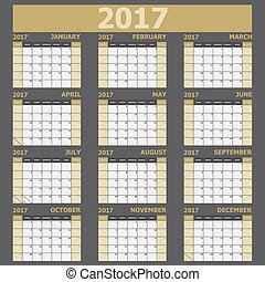vecka, startar, tone), söndag, (yellow, kalender, 2017