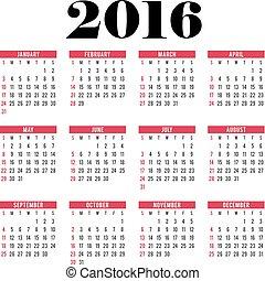 vecka, startar, vektor, sunday., 2016., cirkel, kalender