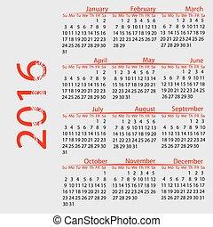 vecka, startar, vektor, sunday., 2016., kalender