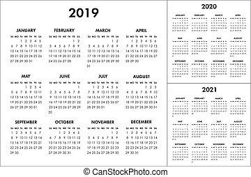 vecka, startar, year., söndag, vektor, 2020, 2021, 2019, kalender