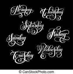 vecka, tisdag, onsdag, måndag, kollektion, torsdag, dag