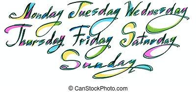 vecka, tisdag, ord, onsdag, måndag, fredag, dagar, isolerat, bläck, svart, sunday., bakgrund, torsdag, vit, kalligrafi, lördag, handskrivet