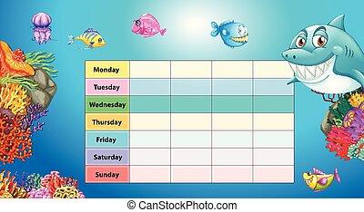 vecka, undervattens, dagar, bakgrund, bord