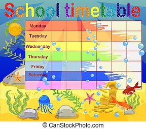 vecka, undervattens, skola, lysande, planerande, design, bakgrund, tidtabell, kids.