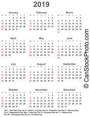 vecka, usa, startar, -, söndag, 2019, kalender