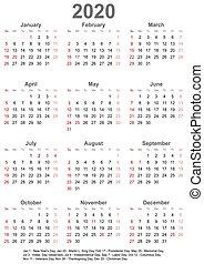 vecka, usa, startar, -, söndag, 2020, kalender