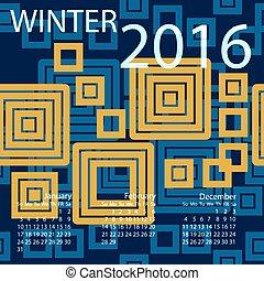 vecka, vinter, startar, vektor, sunday., 2016., kalender