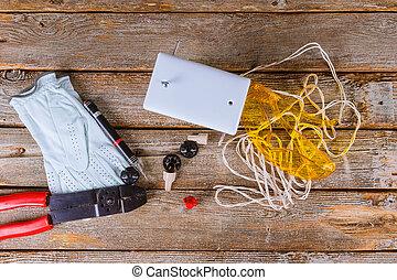 veckad, isolera, binder, rör, isolerings, klippande, elektrisk, plattång