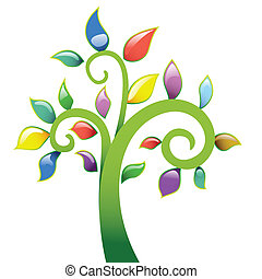 vecor, astratto, albero, icona