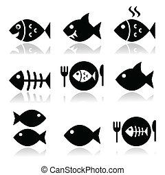 vecor, fish, fish, squelette, plaque