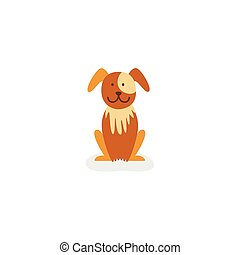 vecot flat brown puppy dog isolated