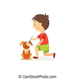 vecotr flat boy combing out dog puppy - vector flat style...