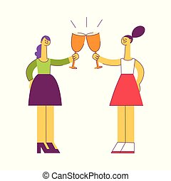 Vecotr flat women saluting toasting at party