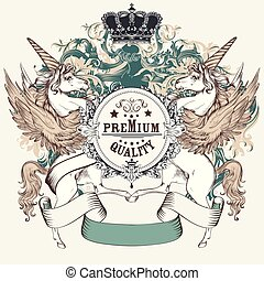vecotr, remsor, skydda, heraldisk, design, enhörningar