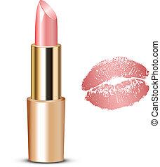 vecroe, illustration, rouge lèvres