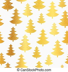 Vecrtor golden Christmas trees seamless repeat pattern background. Great for winter holiday fabric, packaging, giftwrap, covers, greeting cards.