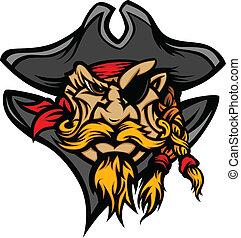 vect, マスコット, 帽子, 海賊, 漫画