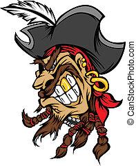 vect, maskottchen, hut, pirat, karikatur