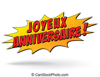 Vecta happy birthday illustration - French translation of...