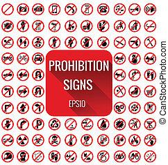 vecter, セット, 禁止, サイン
