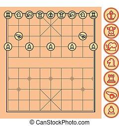 vecteur, échecs, chinois