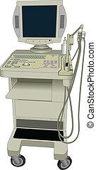 vecteur, échographies, device., ultrasonique
