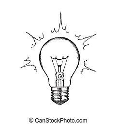 vecteur, éclairage, concept, créativité, bulb.