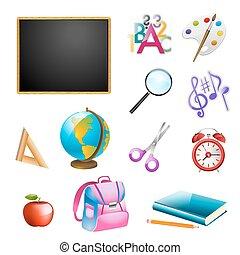 vecteur, école, ensemble, items., illustration
