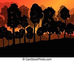 vecteur, écologie, forêt, fond