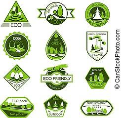 vecteur, écologie, icônes, eco, compagnie, nature, ensemble