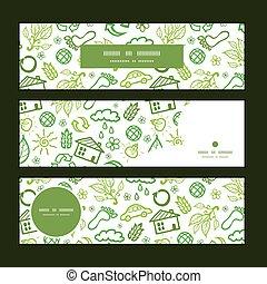 vecteur, écologie, modèle, symboles, ensemble, fond, bannières horizontales