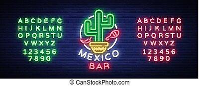 vecteur, édition, mexicain, bannière, signe, texte, neon-style, néon, incandescent, signe, clair, annonce, conception, vie nocturne, gabarit, billboard., barre, nourriture., logo., illustration.