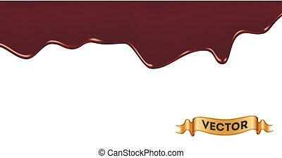 vecteur, égouttement, illustration, chocolat, réaliste, fondu