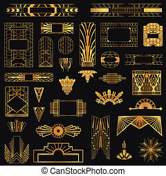 vecteur, éléments, art, vendange, -, deco, conception, ...