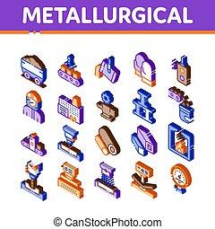 vecteur, éléments, ensemble, icônes, isométrique, metallurgical