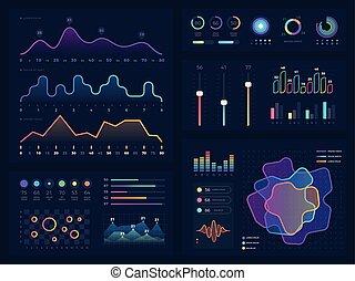 vecteur, éléments, flot travail, charts., technologie, diagramme, infographic, graphiques, présentation, options