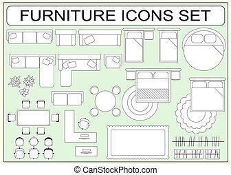 vecteur, éléments, icônes, simple, mettez stylique, meubles