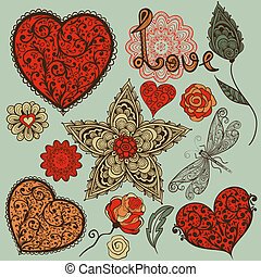 vecteur, éléments, jour, conception, valentine
