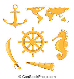 vecteur, éléments, nautique
