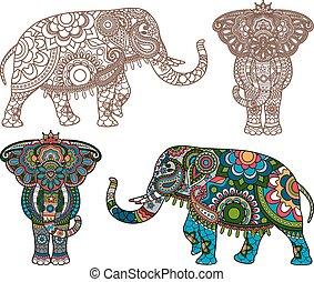 vecteur, éléphant indien