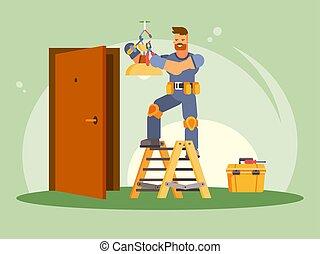 vecteur, électricien, illustration, coloré, mâle