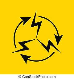 vecteur, électrique, circulation., icône, signe