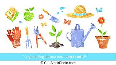vecteur, équipement, ensemble, jardinage
